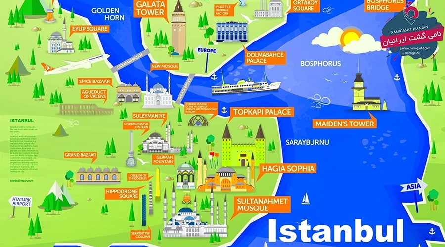 نقشه گردشگری استانبول