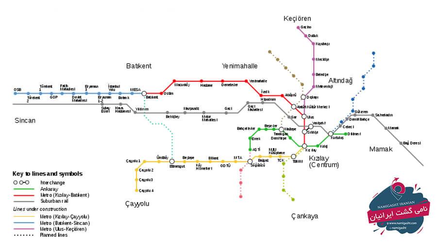 نقشه مترو آنکارا