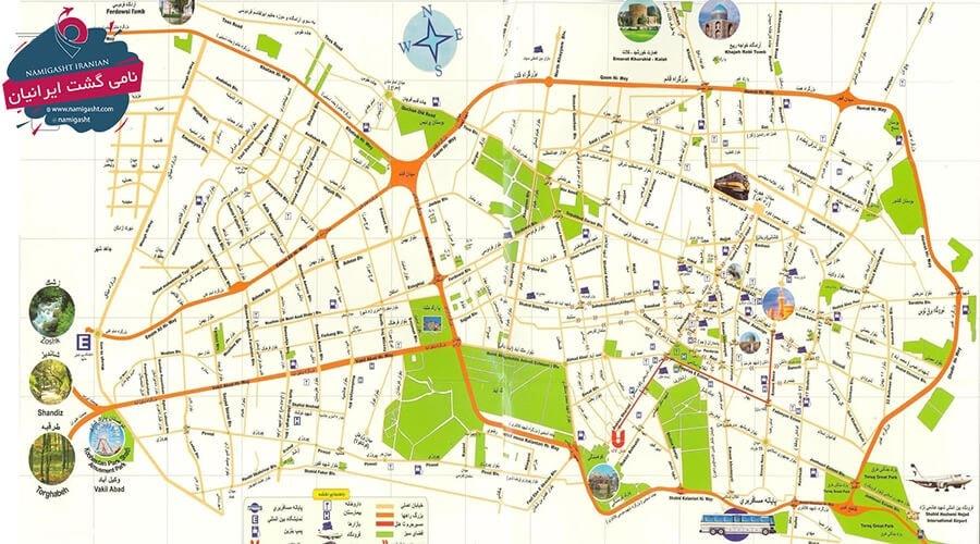 نقشه گردشگری مشهد