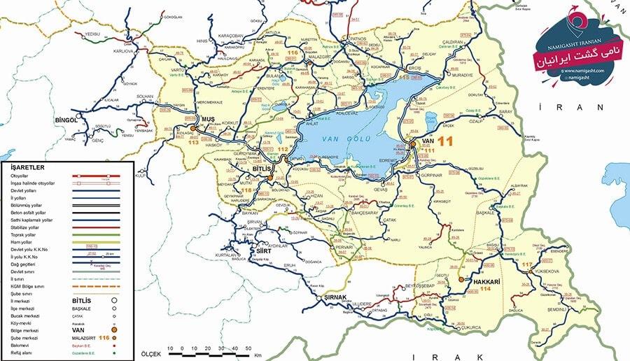 نقشه گردشگری وان