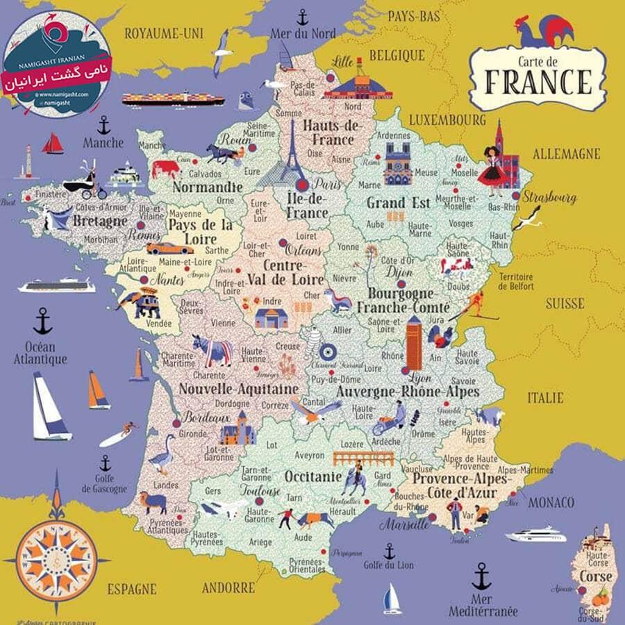 نقشه گرشگری فرانسه