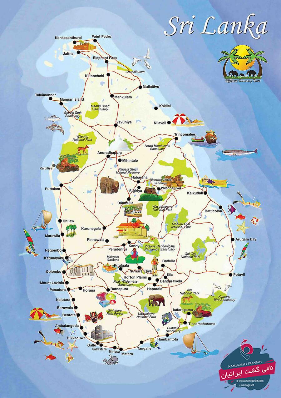 نقشه گردشگری سریلانکا